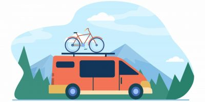 Minivan with bike on top moving in mountain. Vehicle, transport, bicycle trip flat vector illustration. Outdoor activity, adventure travel concept for banner, website design or landing web page
