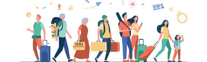 Group of tourists with suitcases and bags standing in airport. Families, elderly couples travelling with luggage. Vector illustration for trip, journey, travel, vacation concept